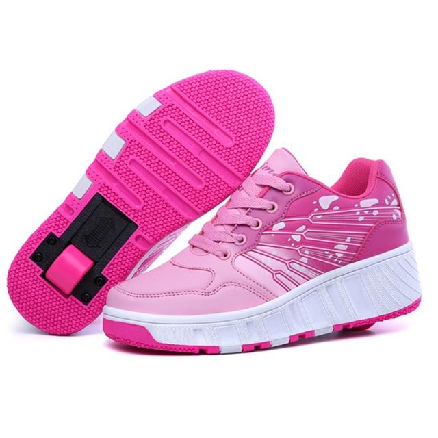 Mode enfants chaussures filles garçons à roulettes chaussures pour enfants Sneakers avec roues chaussures OnhLX8