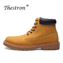 New Cool Working Boots for Men Brown Black  Work Male Comfortable Original Casual Rubber Sole Brand Shoes