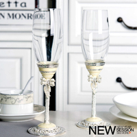 Houmaid Drinkware crystal and colour Enamel wine glass goblet champagne flutes glass with gift box creative wedding gift glass