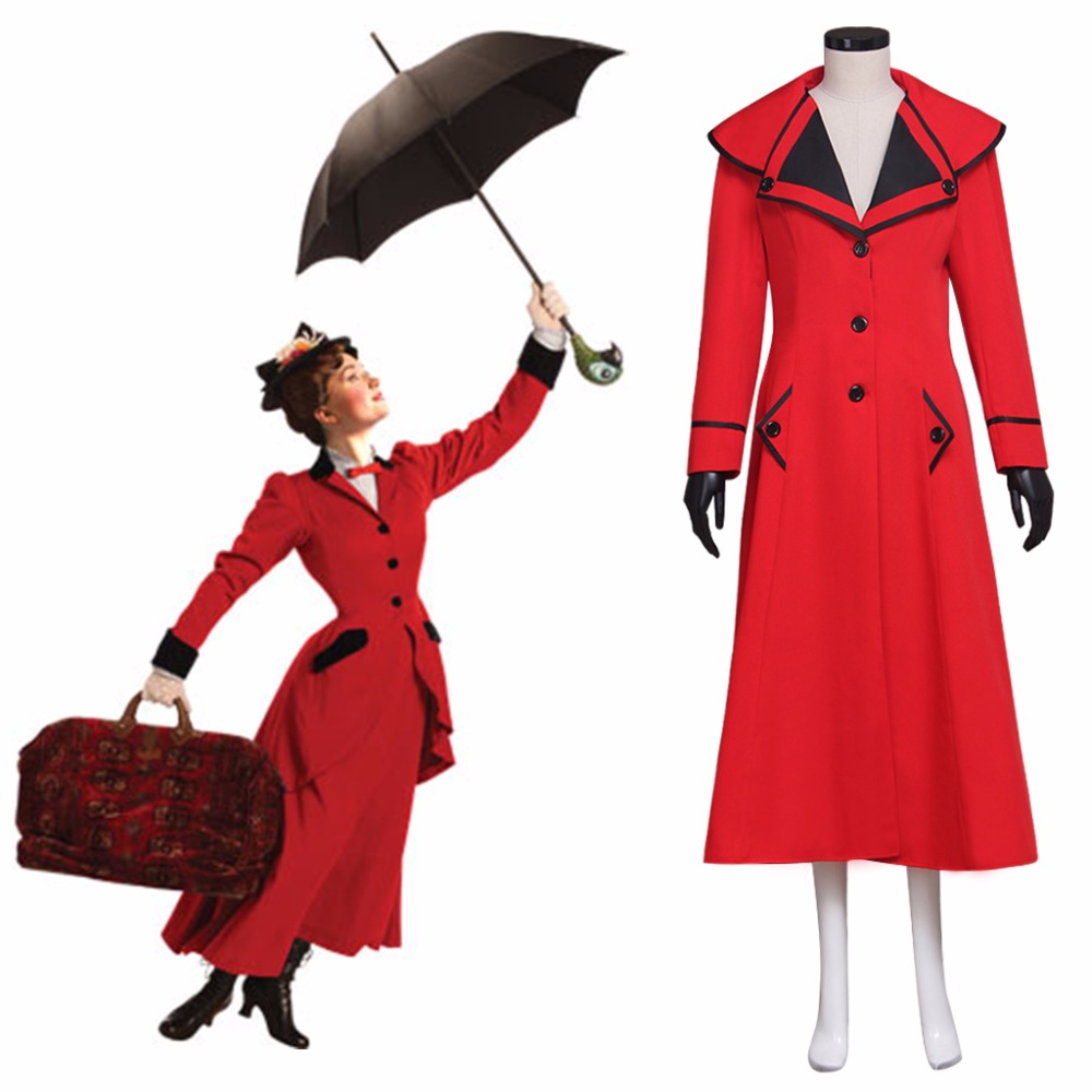 Cosplaydiy Custom Made Adult Mary Poppins Red Fancy Dress Costume