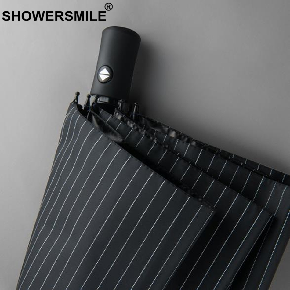 SHOWERSMILE Umbrella Automatic Folding Rain And Sun Umbrellas Windproof Foldable Men Black Striped Gentleman Parasol Paraguas in Umbrellas from Home Garden