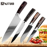 XITUO 4 pcs high quality Very sharp Chef knife 7CR17Mov stainless steel kitchen knives Mirror blade Santoku Knife Cooking Tool