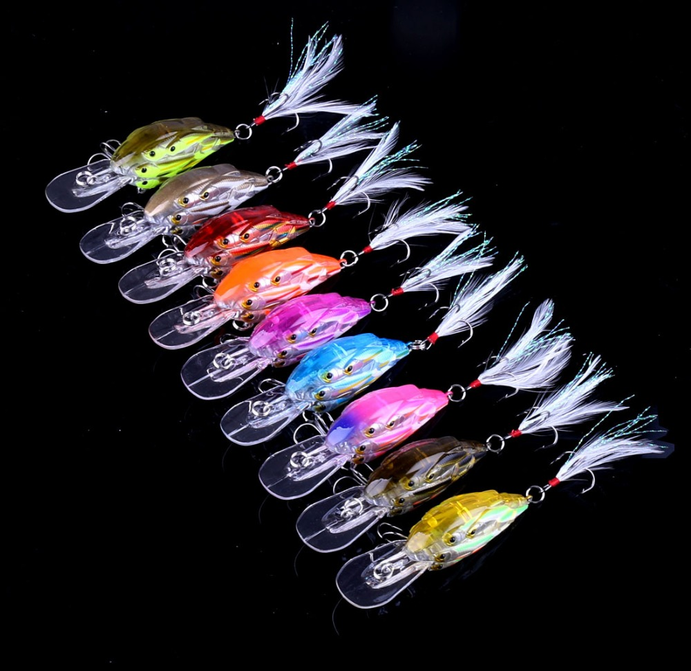 INFOF 9pcs 2.957.5CM 9.3G Crankbait group fish Swim Bait 8 fishes Plastic Bionic Wobbler Fishing Tackle Shads # 6 feather hook