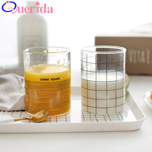 5PC/SET Hand-painted Geometric Lines Glass Cup Creative Juice Cup Small Fresh Lamp Wine Beer Drinkware Tea Juice Mug Drink Cup