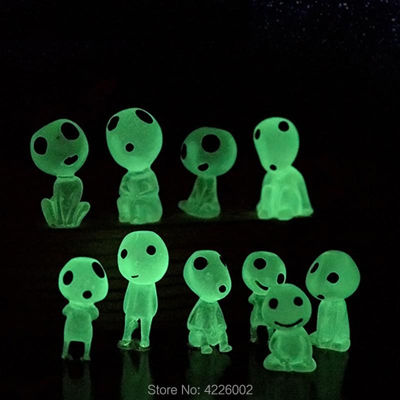 10pcs Princess Mononoke Glow In Dark Ghibli Action Figure Kodamas Luminous Elf Tree Dolls Set Resin Model Cartoon Figurines Toys
