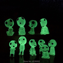 10pcs Princess Mononoke Glow in dark Ghibli Action Figure Kodamas Luminous Elf Tree Dolls Set Resin Model Cartoon Figurines Toys