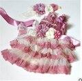 Juegos Del Mameluco Del bebé Recién Nacido de Dibujos Animados Floral Tutu Dress Romper + Venda + cinturón 3 unids/set Juegos de Ropa de Niño