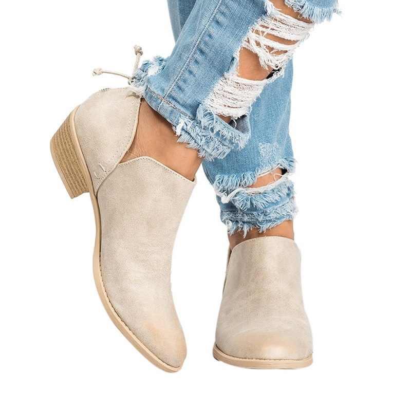 Vertvie kadın patik çizmeler kalın kadın patik bileğe kadar bot kadınlar için ayakkabı kadın kadın çizme XL süet çizmeler