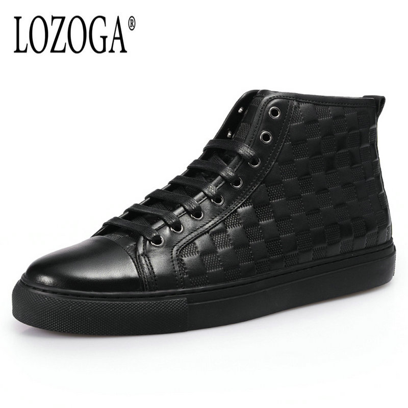 Lozoga Men Boots Genuine Leather Fashion Brand Ankle Boots Top Quality Handmade Sneakers Casual Shoes Lace-Up Black Boots Damier lozoga new men shoes fashion boots ankle 100