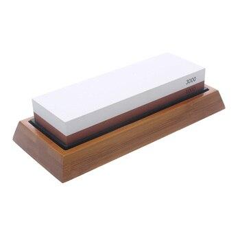 Professional Kitchen Knife Sharpener Stone Double Side White Corundum Whetstone Grindstone Japanese Sharpening Tool Bamboo Base