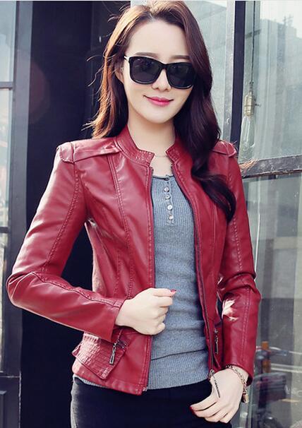 Female Zippers Coat Women PU   Leather   Jackets Spring Autumn Short Outwear Spring Autumn Short Outwear Female Motorcycle Coat