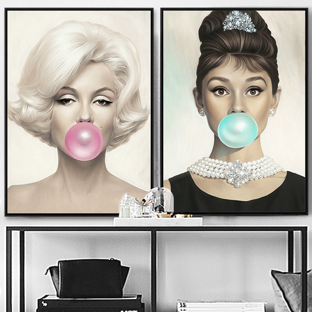 Marilyn Monroe Chewing Bubble Gum Canvas Prints Wall Art Picture Audrey Hepburn Painting Poster For Living Room Bedroom Decor