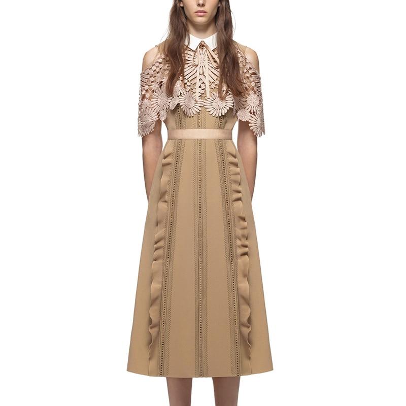 Kvinna Runway Designer Midi-klänningar med snör åt - Damkläder - Foto 1