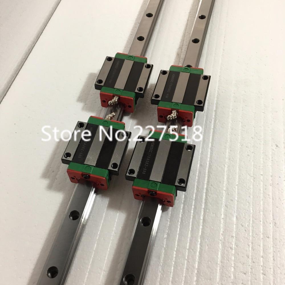 25mm Type 2pcs  HGR25 Linear Guide Rail L900mm rail + 4pcs carriage Block HGW25CC blocks for cnc router tbi 2pcs trh25 1500mm linear guide rail 4pcs trh25fe linear block for cnc