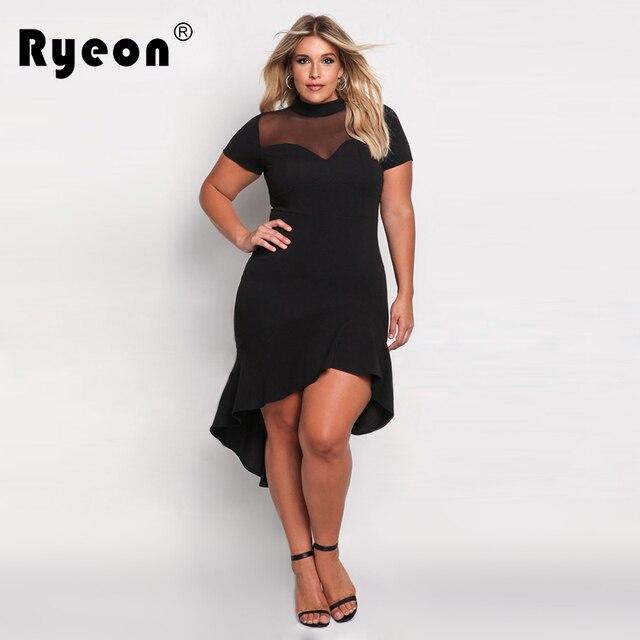 7d7c37ad617230 Ryeon Bodycon Jurken Grote Maten 2017 Zomer Party Sexy Tuniek vrouwen Jurk  Plus Size Vintage Avond