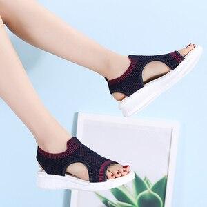 Image 4 - STQ kobiety sandały 2020 buty damskie kobiety lato Wedge Comfort sandały damskie płaskie Slingback sandały na płaskim obcasie kobiety Sandalias 7739