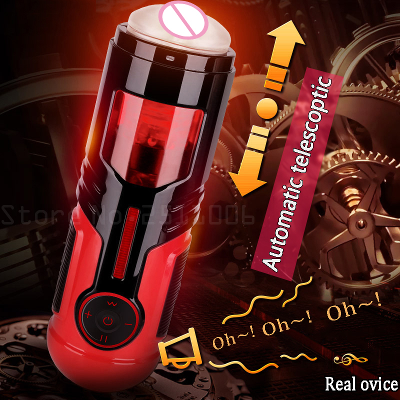 Automatic High-speed Telescopic Voice Sex Machine Pocket Pussy Vibrator Sex Toys for Men Electric piston Male Masturbators top high speed full teeth piston