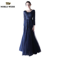 NOBLE WEISS Long Bridesmaid Dress V Neck Fully Sleeves A line Lace Elegant Wedding Party Dress Beaded Navy Blue Bridesmaid Dress