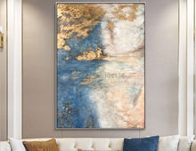 Excellent Artist Pure Hand-painted High Quality Abstract Golden Oil Painting on Canvas Luxury Gold Foil Paint