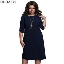 CUHAKCI однотонное Повседневное платье женские большие размеры до колена с коротким рукавом модные стильные летние платья женские 5XL плюс размер платье 6XL