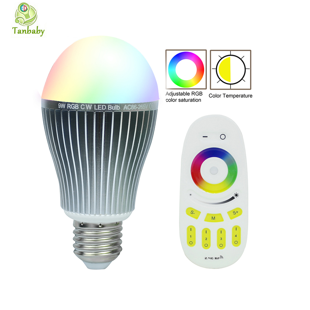 Tanbaby Mi.light RGBWW RGBW 9W led bulb E27 AC85-265V dimmable light lamp with 2.4G 4 Zone wireless RGB remote controller gu10 e14 e27 led bulb mi light 2 4g 4w 5w 6w 8w 9w ww cw rgbw rgbww led lamp intelligent wireless control lamp ac85 265v