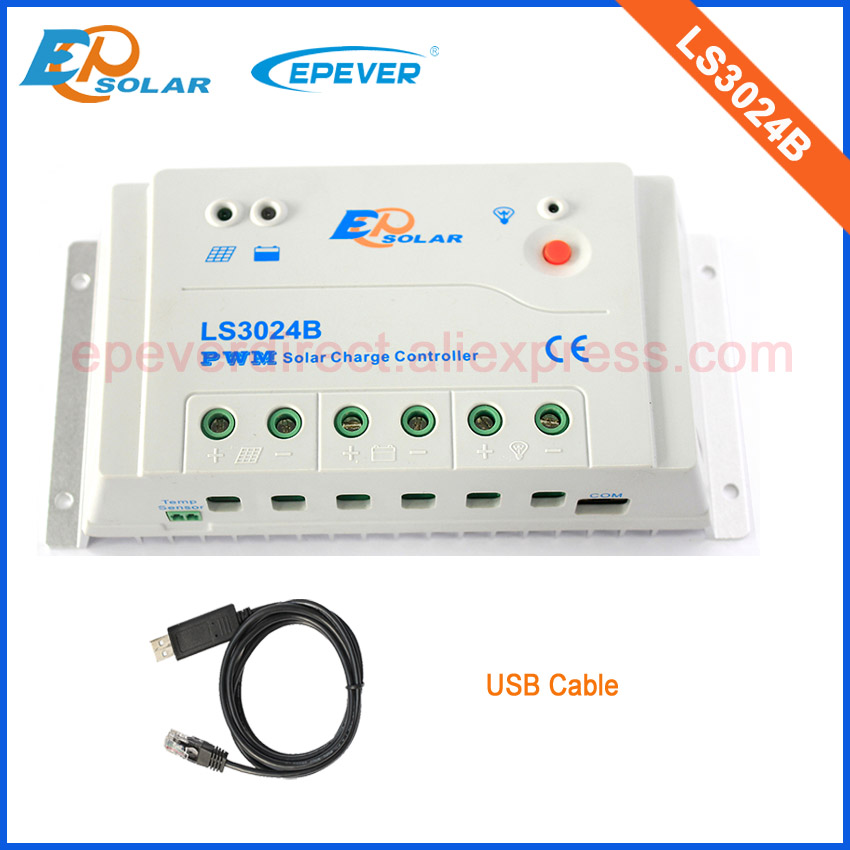 Solar controller with USB cable PWM EPEVER New series regulator LS3024B 30A EPSolar LandStar series 12V 24V Auto type 30a solar charge controller lcd display 24v epever vs3024bn usb communication cable 12v pwm regulator with wifi function