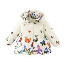 Moda bebé niño Niñas mariposa los niños cálido invierno abrigo Chaqueta de  algodón a108cbad9585