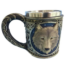 3D Stereo Wolf Head Mug Resin Stainless Steel Cartoon Animal Mugs Tea Coffee Water Drinking Cup
