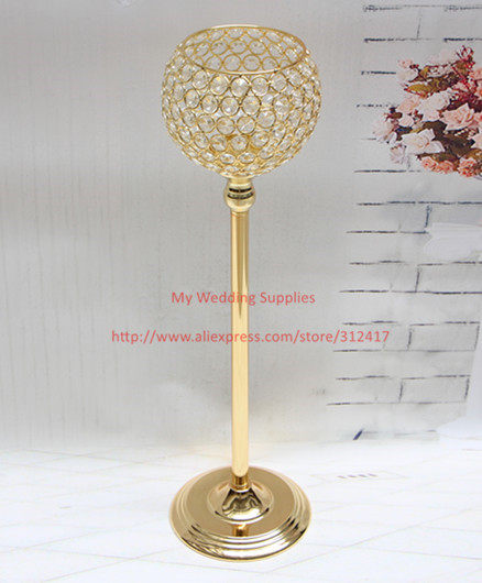 Silver Gold Crystal Globe Metal Candle Holders Christmas House Holder Stand Candlestick For Wedding Party Centerpiece