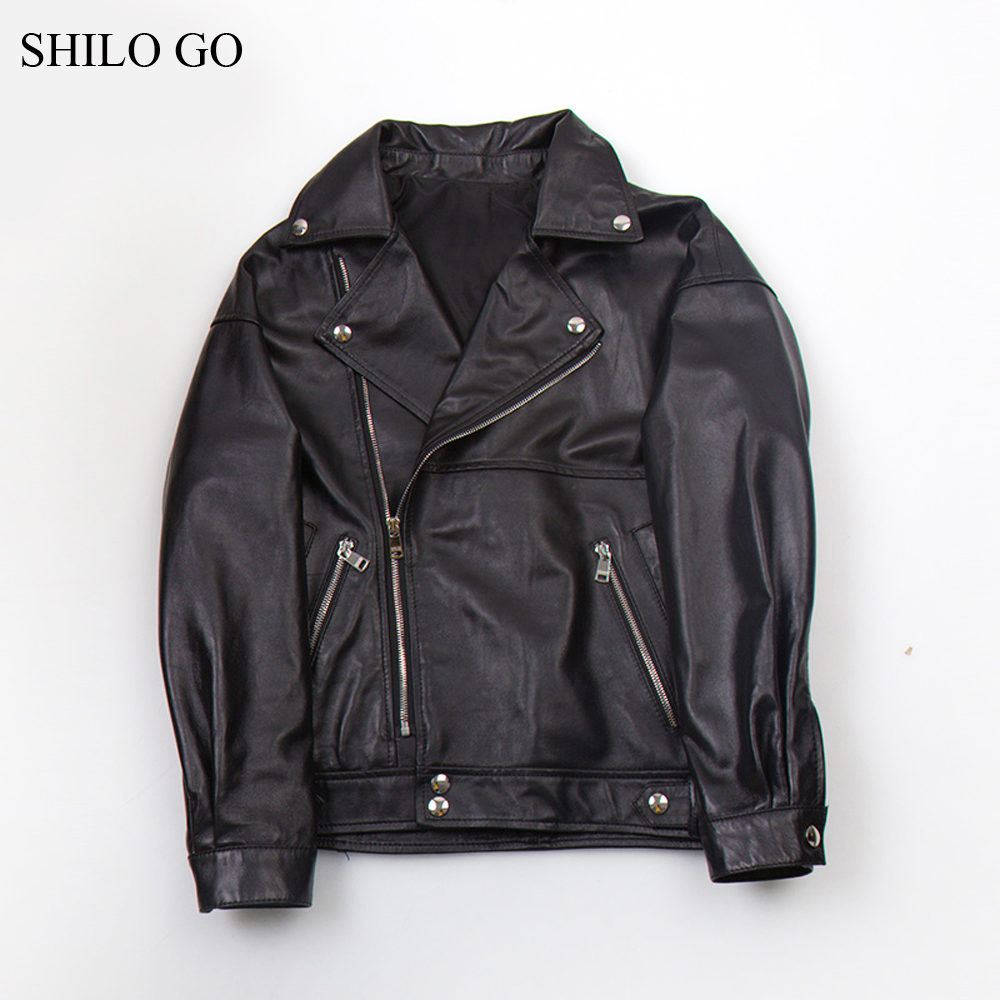 SHILO GO Leather Coat Womens Autumn Fashion sheepskin genuine leather Jacket laple collar button zipper black locomotive jacket