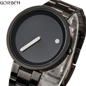 Image 1 - Creative Simple Dot Line Watch Men Unique Cool Male Clock Steel Wrist Watch Simple Fashion Quartz Watch Gifts relogio masculino