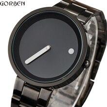 Creative פשוט דוט קו שעון גברים ייחודי מגניב זכר שעון פלדת שעון יד פשוט אופנה קוורץ שעון מתנות relogio masculino