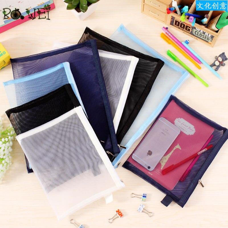 A4 A5 Solid Color  Map Mesh PVC File Folder Document Filing Bag Stationery Bag Promotional Gift Stationery File Folder