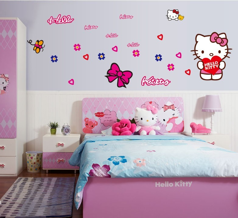 Aliexpress.com : Buy New Free Shipping ZY7131 Popular Cute Pink Hello Kitty  Car L Sticker Wall Mural Home Decor Kids Room From Reliable Kids Sports  Room ... Part 93