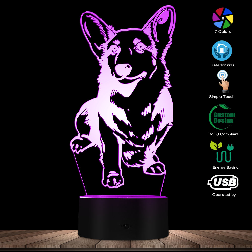Cardigan Welsh Corgi Dog 3D Optical Illusion Night Light Modern Table Visual Lamp Decor Animal Pet Hound Puppy LED Night Light