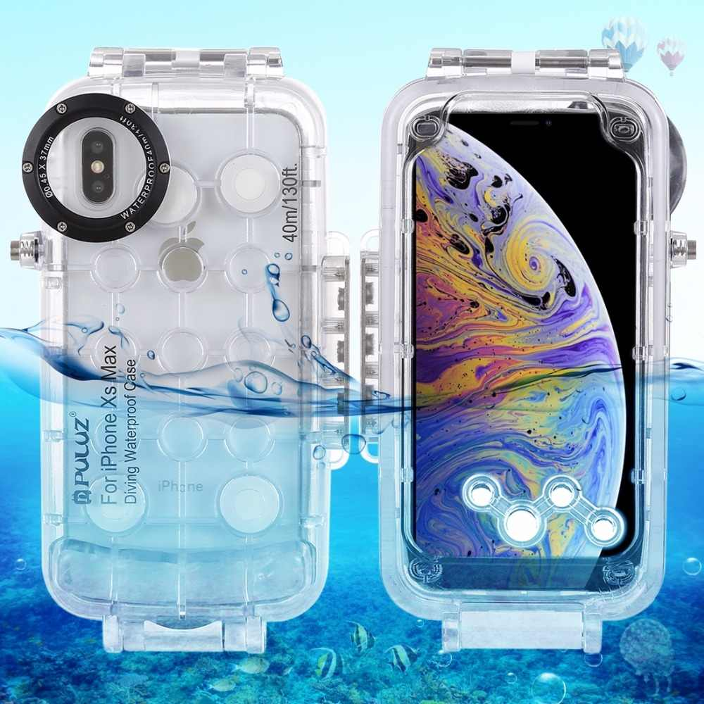 sports shoes 8b6a9 86473 PULUZ for iPhone XS Max Diving Case 40m/130ft Waterproof Housing Photo  Video Taking Underwater Snorkeling Cover for iPhone X/ XS