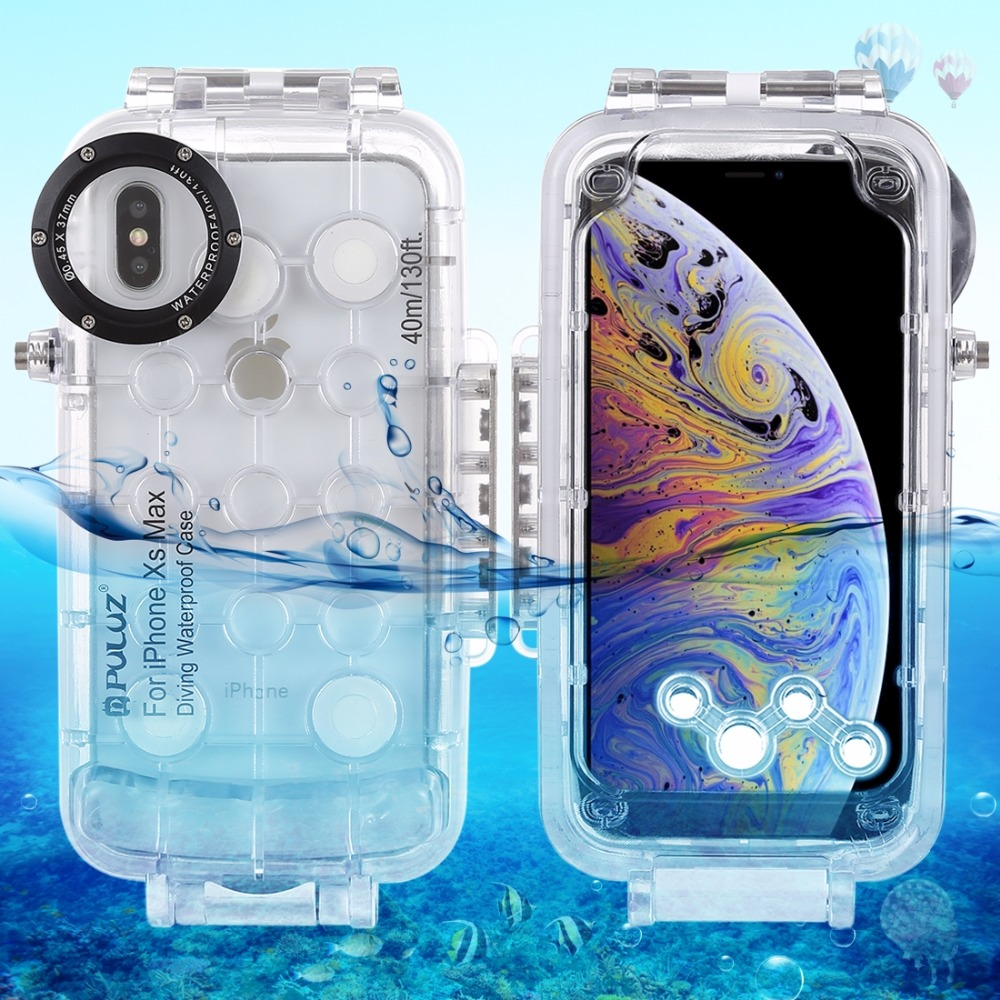 PULUZ for iPhone XS Max / XR Diving Case 40m/130ft Waterproof Housing Photo Taking Underwater Snorkeling Cover for iPhone X/ XSPULUZ for iPhone XS Max / XR Diving Case 40m/130ft Waterproof Housing Photo Taking Underwater Snorkeling Cover for iPhone X/ XS