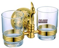 PVD Ti Golden Brass Gold Double Tumbler Holder Cup Tumbler Holders Tumbler Toothbrush Holder Bathroom Accessory