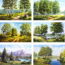 3D DIY Diamond Painting Cross Stitch Scenic Green Tree Forest Crystal Needlework Embroidery landscape