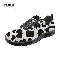 FORUDESIGNS Cow Lover Pattern Casual Lace Up Sneaker Shoes for Women Spring Summer Breathable Flat Shoes Comofort Mesh Flats