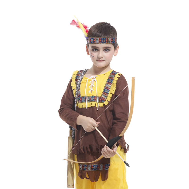 Kids Child Indian Prince Native Hunter Archer Cosplay Costume for Boys Halloween New Year Carnival Mardi Gras Party Outfit 3