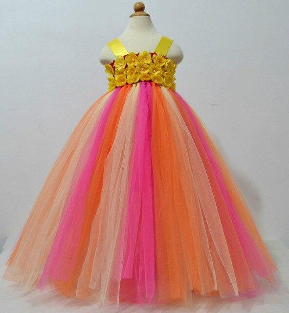 41d9f06bc3246 Multicolore filles fleurs Crochet longue Tutu robe enfants à la main moelleux  Tulle robe de bal