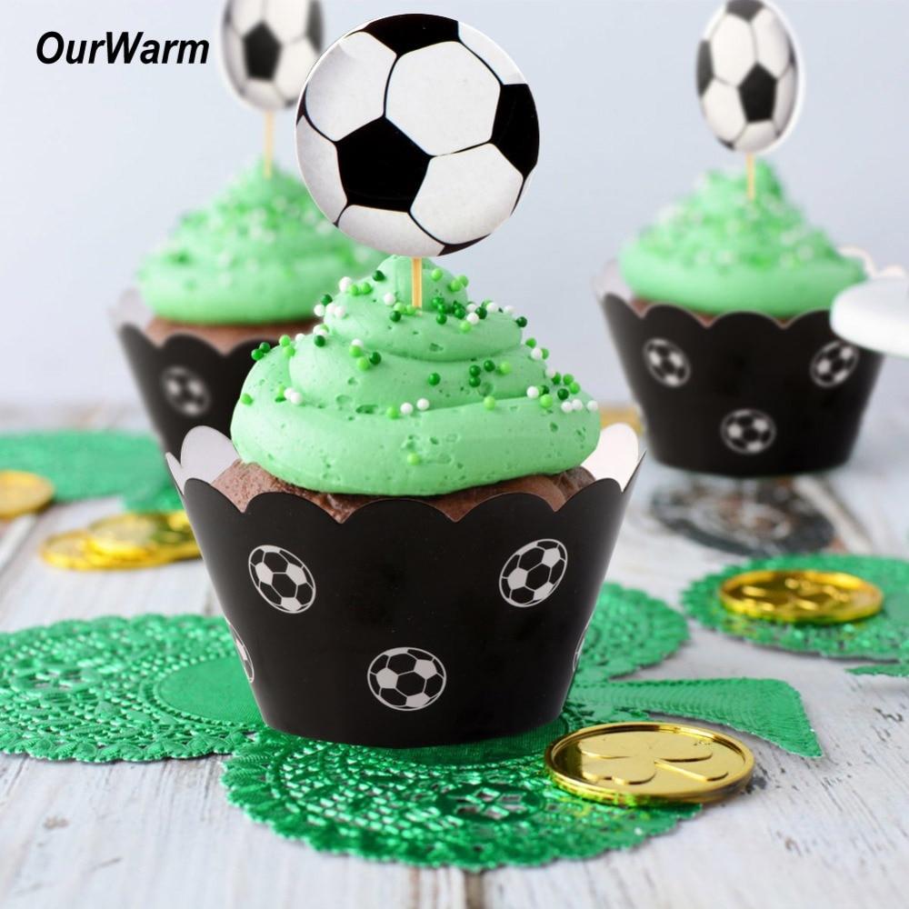 Aytai 24st voetbal cupcake papier wrapper toppers verjaardag - Feestversiering en feestartikelen
