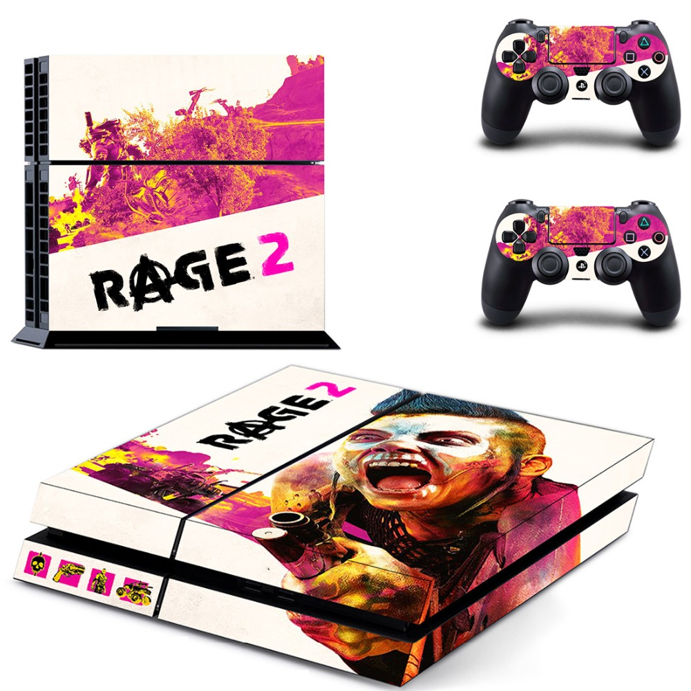 Game Rage 2 PS4 Skin Sticker Decal for Sony PlayStation 4 Console and 2 Controller Skin PS4 Sticker Vinyl Accessory