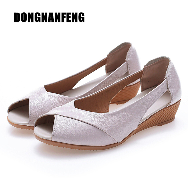 Véritable Sandales Chaussures Appartements Vache Femmes Mère Femmes Dongnanfeng CqIgx0FwR