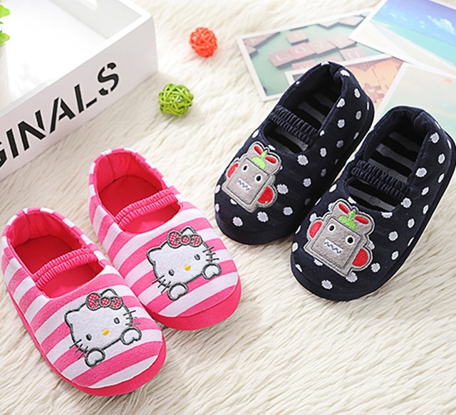 Soft Cute Cat Animal Cartoon Kids Slippers Children Home Shoes For Boys Girls Indoor Bedroom Baby Warm Winter Cotton Slipper