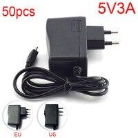 50PCS Output DC 5V 3A 3000mA Micro USB AC to DC Power Adapter supply EU Plug Input 100V 240V Converter adapter for Raspberry Pi