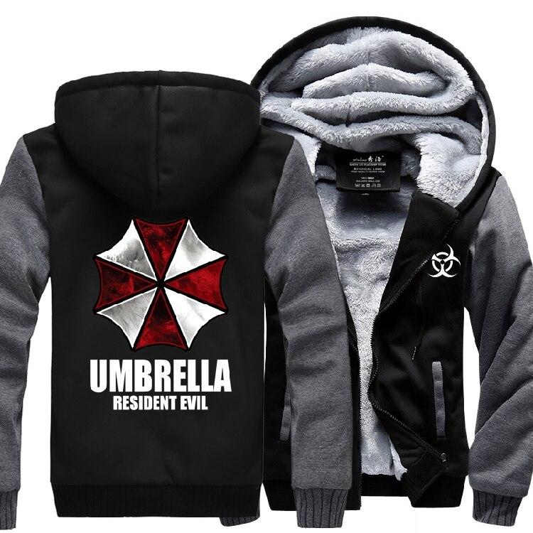 New Winter Resident Evil hoodie Anime umbrella Hooded Thick Zipper Men cardigan Sweatshirts
