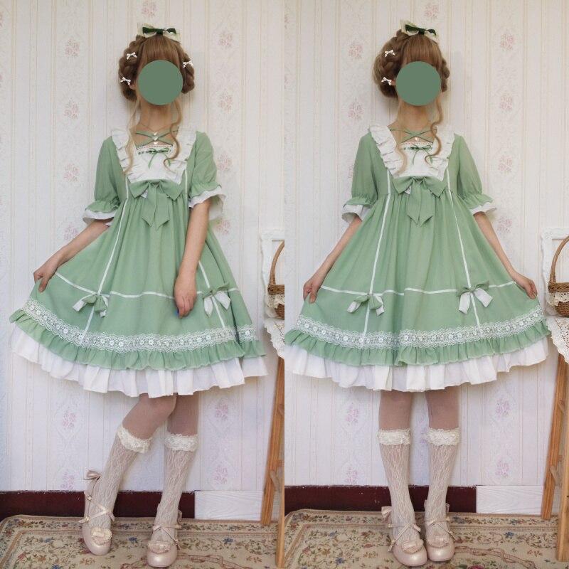 Japanische frauen Süße Lolita Nette Erdbeere Stickerei Kleid Mori Mädchen Kurzarm Bogen Puppe Kragen Kawaii Mädchen Kleid Sommer-in Kleider aus Damenbekleidung bei  Gruppe 1