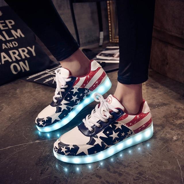 2016 женщин повседневная обувь светодиодные светящиеся обувь Led обувь для взрослых кроссовки плюс размер